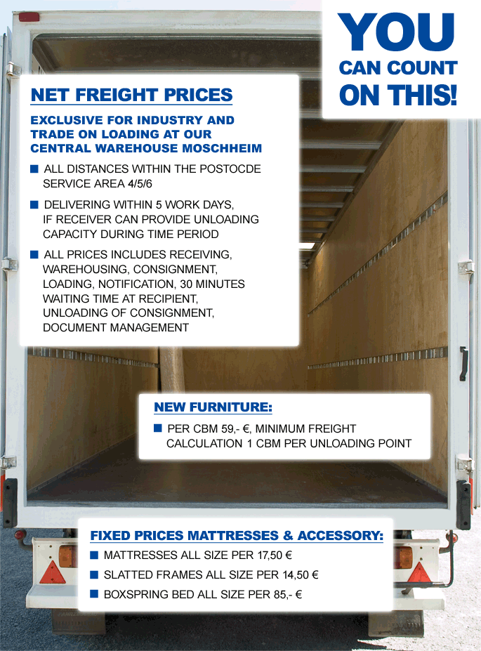 Freight price list as PDF